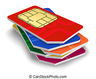 Set of color SIM cards isolated on white background