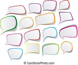 Set of color speech designs. - Vector illustration of paper...