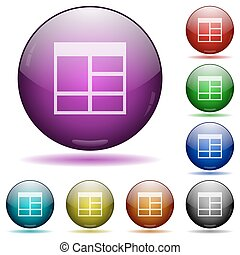 Spreadsheet vertically merge table cells glass sphere button