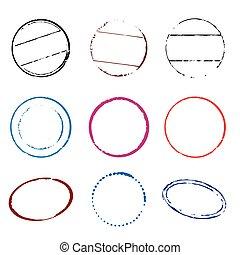 Set of color stamps. Vector Illustration.