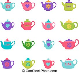 Set of color teapots, vector illustration