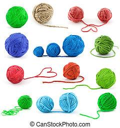 Set of color thread balls