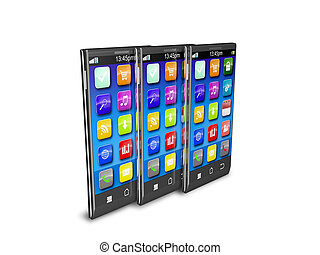 Set of color touchscreen smartphones isolated on white reflective background