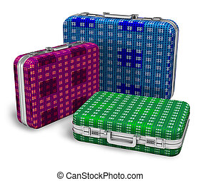 Set of color travel cases