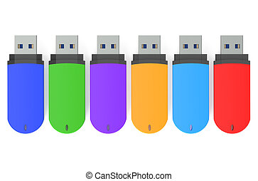 set of color USB flash drives