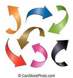 Set of color vector arrows 3d
