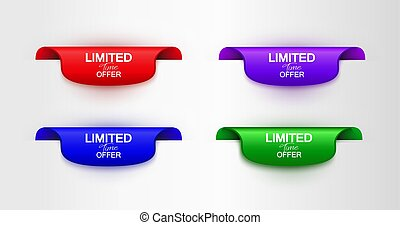 Set of color vector banner limited time