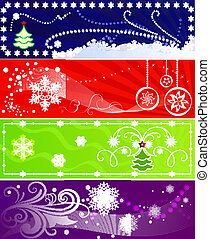Set of color vector Christmas banners with snowflakes.