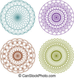 Set of Color Vector Guilloche Rosettes