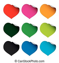 Set of color vector hearts and stickers