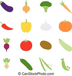 Set of color vegetables icons, vector illustration
