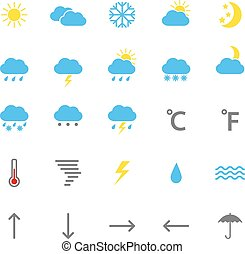 Set of color weather icons, vector illustration