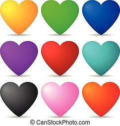Set of Colored 3d Hearts isolated on white background for Your Design, Game, Card. Vector Illustration.