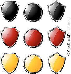Set of colored 3d shields -02 - eps10.eps