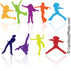 Set of colored active silhouettes. - Set of colored active...