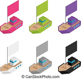 Set of colored and gray isometric 3d toy ships with flags