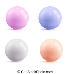 Set of colored atoms. Vector illustration.