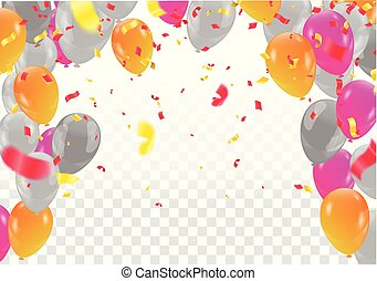Set of colored balloons, frame composition with space for your text  confetti celebration