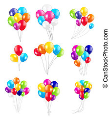 Set of Colored Balloons, Illustration.