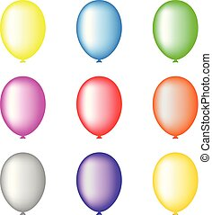 Set of Colored Balloons isolated on white background for Your Design, Game, Card. Vector Illustration.