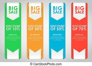 Set of colored banners for sale