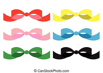 Set of colored bows
