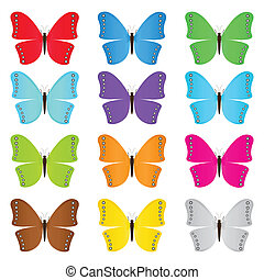 Set of colored butterflies