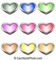 Set of colored buttons in the shape of a heart