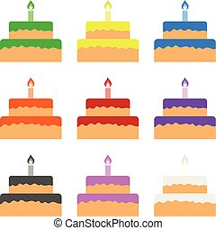 Set of Colored Cakes isolated on white background. Vector Illustration for Your Design, Game, Card.