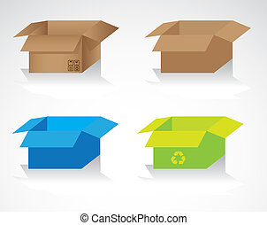 set of colored cardboard boxes