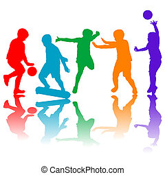 Set of colored children silhouettes