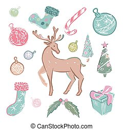 Set of colored christmas elements