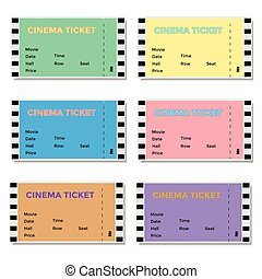 Set of Colored Cinema Tickets