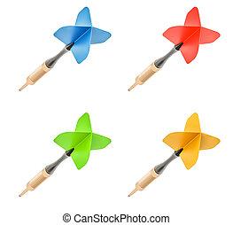 Set of colored darts, 3D rendering