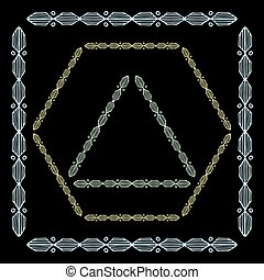 Set of colored decorative ornamental border with corner. Triangular, quadrangular, hexagonal frames. Black background