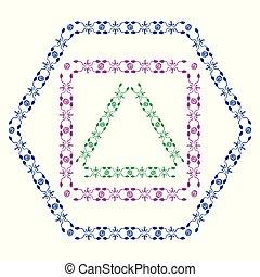 Set of colored decorative ornamental border with corner. Triangular, quadrangular, hexagonal frames. Two kinds of ornamental elements