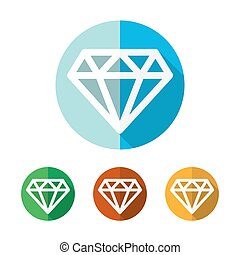 Set of colored diamond icons. Vector illustration.