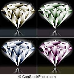 Set of colored diamonds