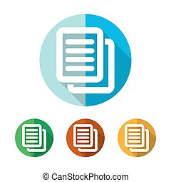 Set of colored document icons. Vector illustration.