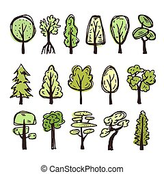 Set of colored doodle trees