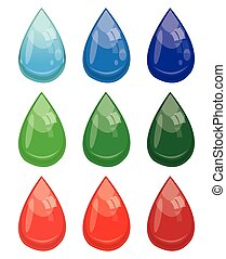 set of colored drop