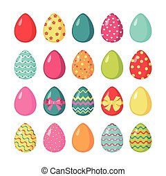 Set of colored easter eggs.