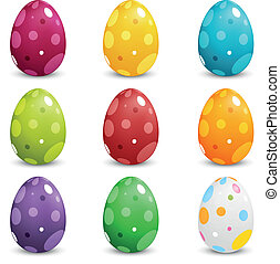 Set of Colored Easter Eggs - Set of Dotted Colored Easter...