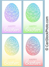 Set of colored Easter eggs with floral ornament.