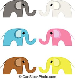Set of Colored Elephants isolated on white background. Female and male elephants. Vector Illustration for Your Design, Game, Card.
