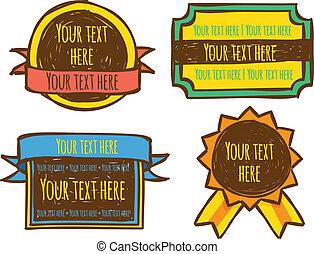 set of colored emblem doodle