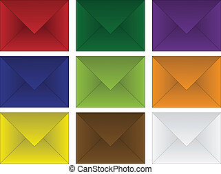 set of colored envelopes