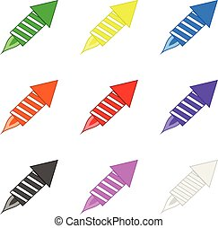 Set of Colored Fireworks isolated on white background. Holidays Element. Vector Illustration for Your Design, Game, Card.