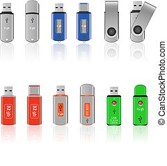 Set of colored flash drives