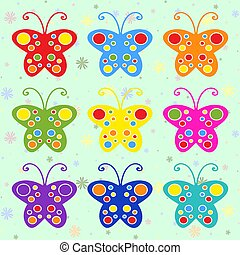 Set of colored flat isolated butterflies. Abstract and bright flyers.